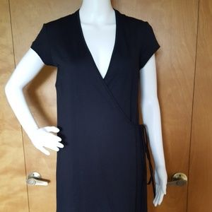 J McLaughlin Black Short Sleeved Wrap Dress 8
